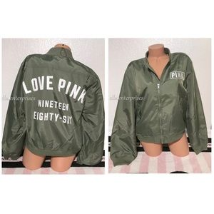 VS Pink Sagebrush Green White Zip Up Flight Jacket